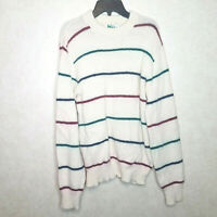Vintage REI Men Size M Sweater Crewneck Striped Longsleeve Cable Knit Wool Blend