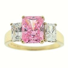 4.00ct Emerald Cut Pink Ice Cubiz Zirconia Ring Solid 14k Yellow Gold