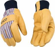 Kinco 1927KW-L Gefüttert Maserung Schweins Leder Handschuh mit Stricken Wrist, L