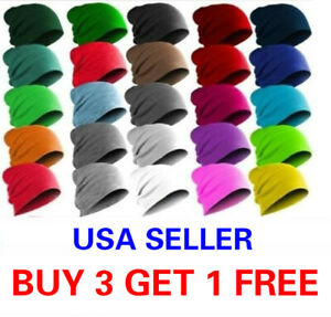 Beanie Thin Plain Knit Hat Baggy Cap Cuff Slouchy Skull Hats Ski Men Women