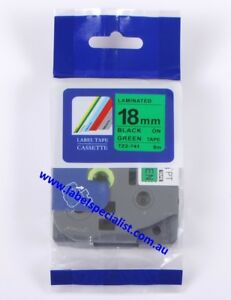 Laminated Brother P-Touch TZ (TZ2)-741compatible18mmx8m Black-On-Green Tape