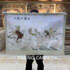 YILONG 2'x3' Handknotted Silk Horses Rug Vivid Tapestry Home Carpet MC017H