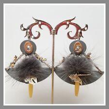 boucles d'oreilles Lolilota lol Bijoux gris strass pompon perle papillon mode