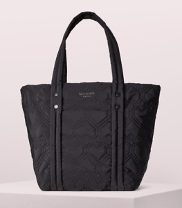 Kate Spade Nylon jayne medium east west Quilted heart tote ~NWT~ Black