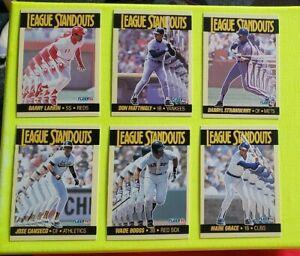 1990 Fleer League Standouts 6 Card Set Larkin Mattingly Canseco Boggs Grace