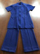 "Vintage Ladies Talbot ""Traveler"" Polyester Knit Pant Suit Royal Blue size S"