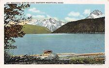 Idaho postcard Beautiful Redfish Lake, Sawtooth Mountains, linen