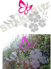 Pink Silver Etch Etched Effect Butterfly Flower Home Window Mirror Sticker ETP5