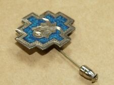 & Inlaid Turquoise Enamel * Vintage Stick Pin Taxco Mexico Sterling