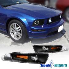 For 2005-2009 Ford Mustang GT V6 Black Corner Signal Bumper Lights Parking Lamps