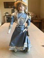 """Vintage Bisque Doll 19"""" Dressed With Stand And Accessories"""