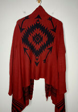 Ralph Lauren Small Aztec Wrap Sweater RRL Polo Indian Red Poncho Tribal Black
