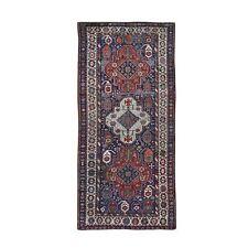 "3'9""x8' Antique Caucasian Kazak Exc Con Hand Knotted Wide Runner Rug R47374"