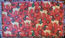 """Fleece Tie Tied Blanket 49""""x29"""" Unicorns Pink Purple"""