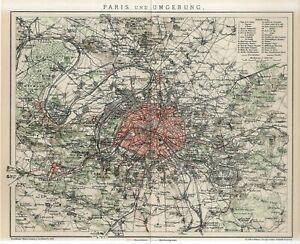 1912 FRANCE PARIS CITY PLAN and SUBURBS Antique Map