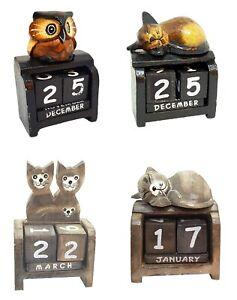 Fair Trade Hand Carved Made Wooden Bird Perpetual Calendar Owl Or Sleeping Cat