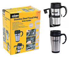 Rolson Thermal Travel Mug Flask Cup Car Van Holder Insulated Stainless Steel 1x