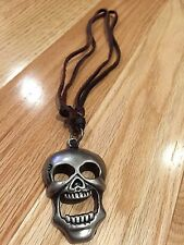NEW Large Metal Skull Bones Pendant Leather Necklace Adjustable