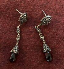 .925 Sterling Silver Marcasite Drop Earrings W/ Maroon Stone!