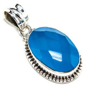 """FACETED BLUE CHALCEDONY GEMSTONE 925 STERLING SILVER  JEWELRY PENDANT 1.21"""""""