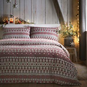 Fusion FAIRISLE Christmas Duvet Cover Set Winter Bedding Brushed Cotton Red