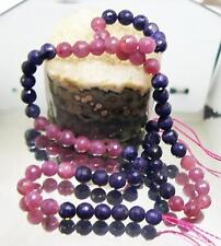 """FACETED NATURAL PINK RUBY PURPLE BLUE SAPPHIRE ROUND BEADS 6mm 15.5"""" STRAND AAA"""