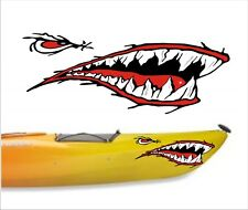 SHARK TEETH MOUTH DECAL STICKERS KAYAK CANOE JET SKI HOBIE DAGGER OCEAN boat a2