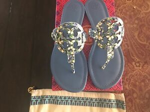 TORY BURCH Blue Terrace Ditsy Miller Leather Sandal Size 9.5, BNIB, sold out!