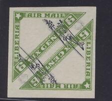 Liberia 1936, 6c air triangle, IMPERF pair, trial color CENTERS SIDEWAYS RR #C3F