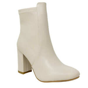 New Women's Almond Pointy Toe Chic Modern Chunky Block High Heel Ankle Bootie