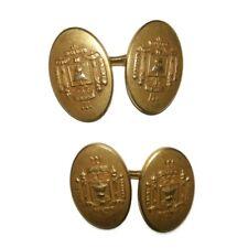 Vintage Krementz Cufflinks Goldplated US Naval Academy Crest Logo Set chain link