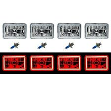 "4X6"" Red LED COB Halo Crystal Glass / Metal Headlight Light Bulb Headlamp Set"