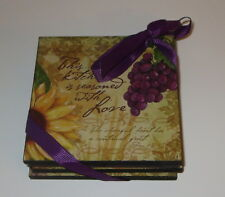 Bella Vita Collection Wooden Coaster Set of 4 Grapes Fruit Lemons Seasoned Love