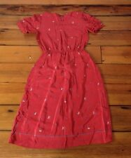 Vtg 50s Burgundy Red French Silk Short Sleeve People Walking Pattern Dress S/M