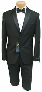 Mens Caravelli Slim Fit Black Tuxedo with Pants Shirt Studs & Cuff-Links 50L 44W