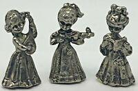 Vintage Miniature 3 Pewter Girls Figurines Songbook Violin & Mandolin Band Choir