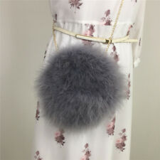LIYAFUR New Design Real Ostrich Feather Fur Shoulder Chain Bag Purse Handbag