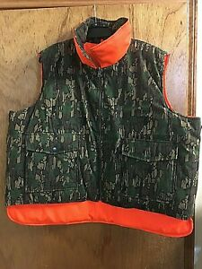 Hunting Vest Men's XXL Reversible Camo/Hunter's Orange Pockets Water Resistant