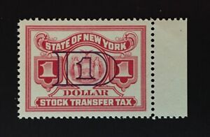 New York State Revenue - $1.00 red Stock Transfer Tax Stamp #ST166b, OG-MNH - NY