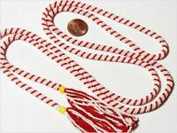 """48"""" Vintage Czech Bohemian lariat flapper style necklace red white glass beads"""