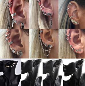8Pcs/set Women Boho Ear Stud Clip Earrings Bohemian Silver Tone Retro Jewelry