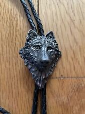 """Braided Leather Cord Incl Ends Men's Wolf Bolo Tie 36"""""""
