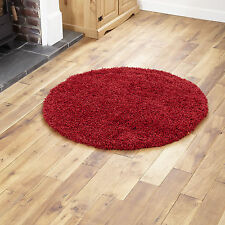 Large Modern Thick Plain Red Colour 5cm High Pile Round Shaggy Rug 133 X 133 Cm
