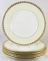 SETs 6 SALAD PLATES VINTAGE MINTON CHINA COMMODORE S112 EMBOSSED GOLD ROPE CREAM