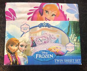 Disney Frozen Elsa Anna Twin Size Sheet Set 3-Pc Cotton Blend Pre-Washed NEW