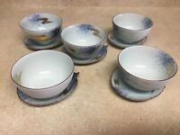 Set of 5 Vintage China Asian Rice Soup Bowl with Leaf Shaped Saucer/Sushi Plate