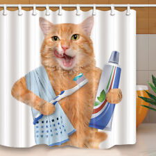 Morning Cat Waterproof Polyester Shower Curtain Home Bathroom Decor with Hooks