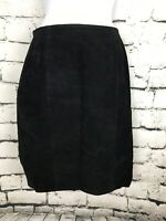 Vintage Women's Black Luxury Suede Pencil Skirt Size 7/8. 1990's  Axessorium