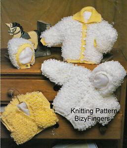 Baby Girls Boys Loopy Hooded Jacket Waiscoat Cardigan KNITTING PATTERN DK 16 -24