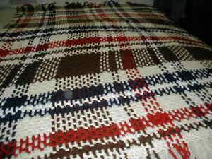 Afghan Hand Crochet Fringe 62 x 62 Beige Brown Navy Red Throw Blanket Plaid USA